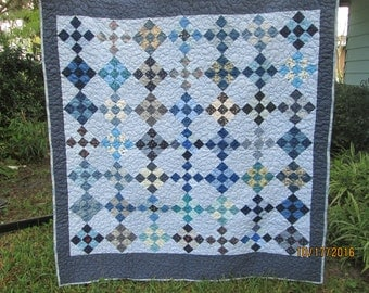 """SUMMER SALE LAP quilt Handmade Blue floral (64"""" by 68"""") """"I'd Rather Be Blue"""" warm batted lap or sofa quilt"""