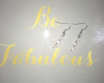 Pink and clear Swarovski crystal earrings
