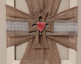 burlap wooden cross picture frame wall hanging home decor religious decor