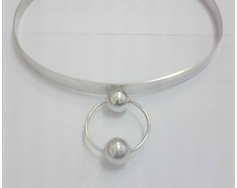 Discreet Slave Day Collar with Ring of O withTwo Small Silver Balls, Sterling Silver, Ring of O Collar