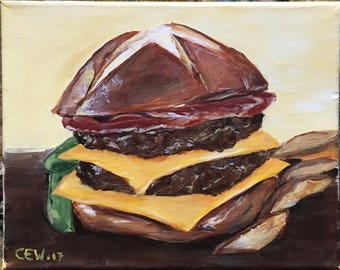 Original acrylic painting of a bacon double cheese burger, 8x10 canvas, whimsical kitchen decor