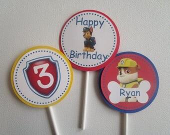 Paw Patrol Birthday Cupcake Toppers, Paw Patrol Birthday Party Supplies