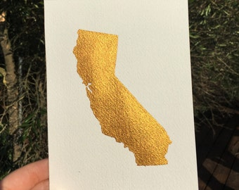 """California Painting - 5"""" x 7"""" -  Metallic gold - 50 States Paintings - State Painting"""