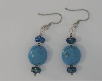 Custom Hand Made Earrings Smokey Blue Porcelain with Cobalt