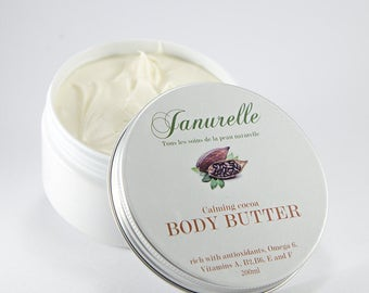 Calming Cocoa Body Butter. Natural and mostly organic ingredients, synthetics free.