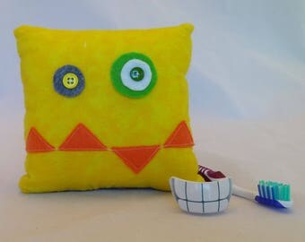 Monster Tooth Fairy Pillow - yellow, orange teeth, gray back