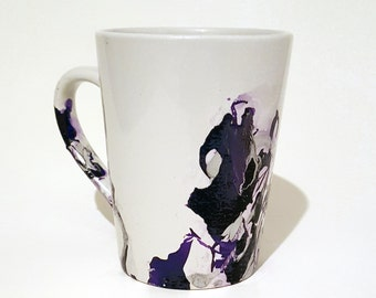 Purple and Silver Marble Mug