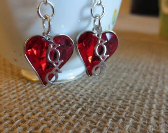 Pretty Red Dangle Crystal Earrings