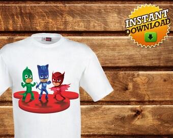 Pj Masks T-Shirt-Printable Disney Pj Masks Iron on Transfer Shirt-Pj Masks decoration party-Pj Masks Invitation-Pj Masks Iron On TransferDIY