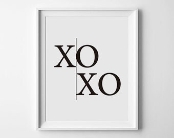 XOXO Print, XOXO Wall Art, Scandinavian Art, Fashion Art, Hugs and Kisses Poster, Minimalist Printable Art, Typography, Instant Download