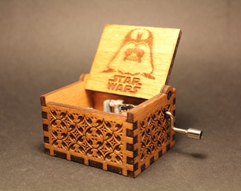 Engraved Handmade Wooden Music Box - Star Wars Theme