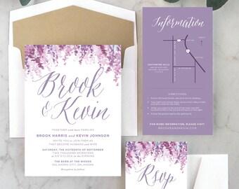 Shades of Lavender Wedding Invitations