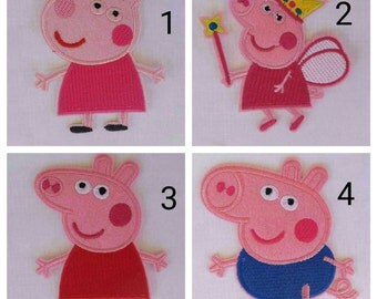 Peppa pig iron on inspired patch, Peppa pig tooth fairy inspired patch, George pig iron on inspired patch