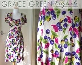 Rare 1940's Vibrant Floral/Berry Novelty Print Rayon Dress! Size XS/Small UK 6-8 Pink/purple