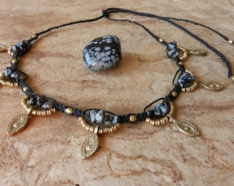 Tribal necklace snowflake Obsidian