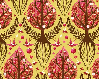 Tula Pink The Birds & The Bees Tree Of Life Fat Quarter in Honey