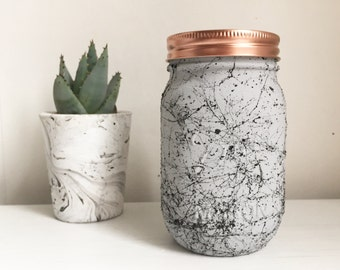 Hand painted Grey and black marble mason ball jar