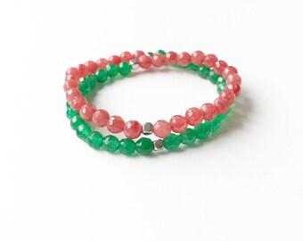 Watermelon Agate Wrap Bracelet
