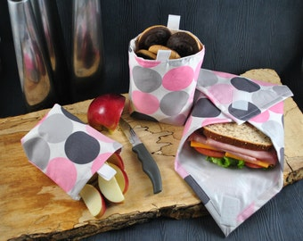 3 piece reusable snack bag sandwich wrap food friendly liner eco friendly washable litterless lunch