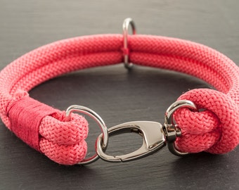 In climbing rope dog collar - pink