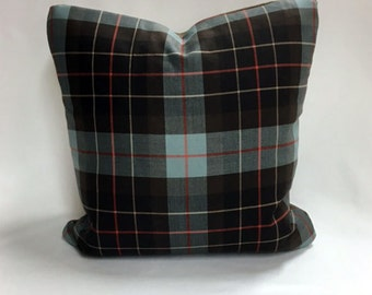 """Blue and Brown Plaid 20"""" x 20"""" pillow"""