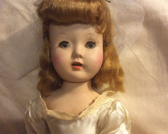 Hard Plastic Bride Doll Walker Made in USA Sweet Sue Type Original Clothing