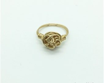 Gold Wire Wrapped Ring, Anti tarnish brass ring, Gold Wire Ring, abstract ring, Statement ring, Spiral wire wrapped ring, 20 gauge