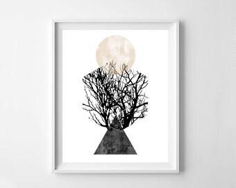 Scandinavian art, abstract art,modern art, modern wall art, tree print, digital download, instant download, tree print