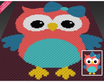 Miss Owl crochet blanket pattern; c2c, cross stitch; knitting; graph; pdf download; no written counts or row-by-row instructions