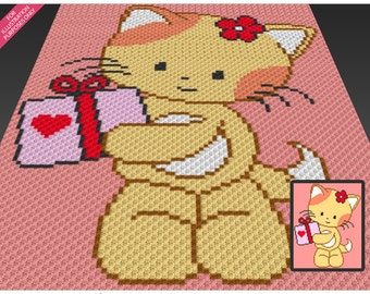 Friendly Kitten crochet blanket pattern; c2c, cross stitch; knitting; graph; pdf download; no written counts or row-by-row instructions