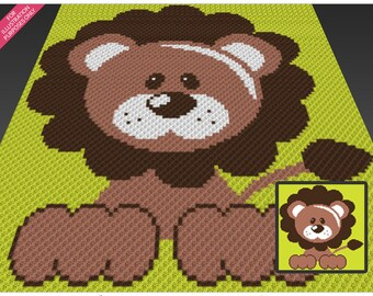 Fluffy Lion crochet blanket pattern; c2c, cross stitch; knitting; graph; pdf download; no written counts or row-by-row instructions