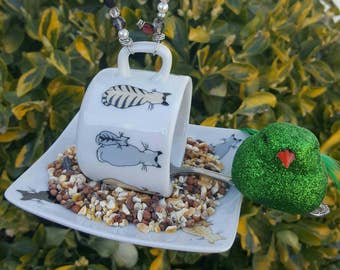 Bird Feeder Made from a Re-purposed Small Demitass Cup, Saucer and Spoon - Adorable Cats and Kittens