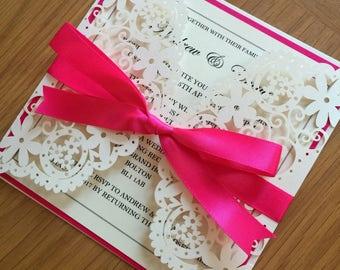Ivory Laser Cut wedding Invitation, Luxury personalised wedding invitation, wedding stationery, engagement, paper lace, ornate, luxury