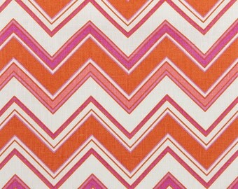 Linen Fabric By the yard Chevron Coral on Ivory