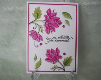 Greeting card, greeting card, congratulations, flowers in pink