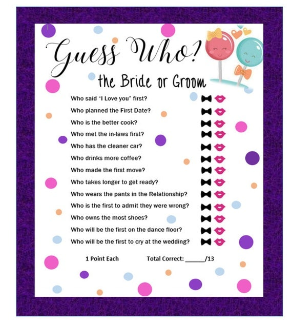 Items Similar To Guess Who, Bride Or Groom? Bridal Shower