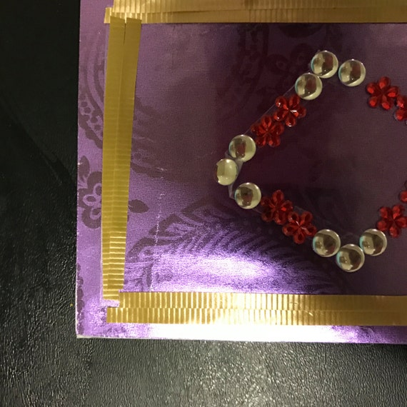 Purple Floral Card with Silver Glass Pearl and Red Floral Diamond-Shaped Center Focal Point Birthday Valentines Wedding Anniversary Baby