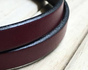 Bracelet leather double Bordeaux man.