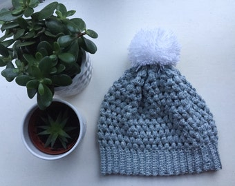 Slouchy Beanie Hat/ Large Pom Pom/ Puff Stitch Beanie by the Hook Nook