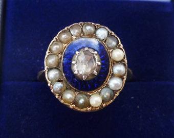 Rare 18ct 18k gold georgian Diamond and seed pearl enamel vintage antique ring