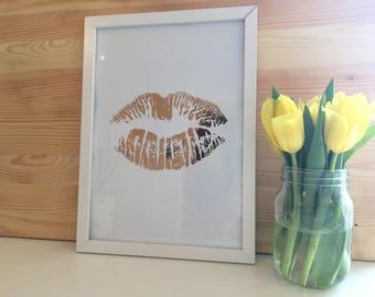 Rose Gold Foil Lips Framed Art Print