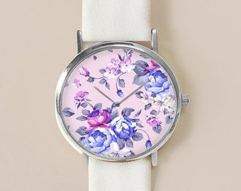 Floral Watch, Lilac Floral Jewelry, Vintage Floral Leather Watch, Women Watches, Roses , Gift for her, Floral Print, Watches, Gift
