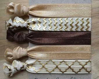 Mocha gold elastic hair ties