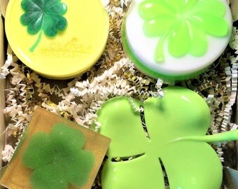 Soap Gift Set Clover. 3 Bars of soap and Soap Dish.Soap for Her or Him.St. Patrick's Day,Clover Lover Gift.