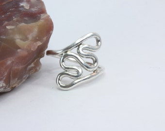 Silver Ring / Hearts Ring / Two Hearts Become One / Ring / Fine Silver / Size: 9 or 9.5