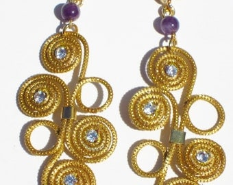Golden Grass Earrings With Natural Amethyst Stones