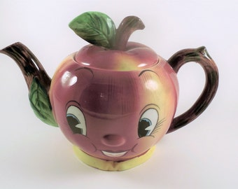 Vintage PY Coronet Miyao Anthropomorphic Apple Face Teapot
