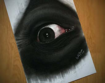 ORIGINAL charcoal drawing eye-see you