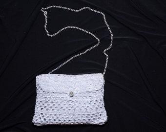 Silver clutch, evening purse, handmade purse, knitted bag