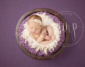 Wooden Bucket Newborn Photo Prop Plum Mauve with fur DIGITAL BACKDROP BACKGROUND